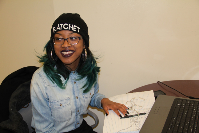 """Nicole, Fashion Merchandising Major. Hat from officialtinhead.com, Ion hair dye, Lipstick in """"Cyber"""" by MAC, Glasses from Carytown Optical."""