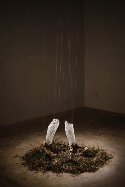 """""""Deductive Reasoning"""", 2013 – (Glass, white sneakers worn from August 2012 to August 2013, plastic, mylar, grass, water, jewelry string)"""