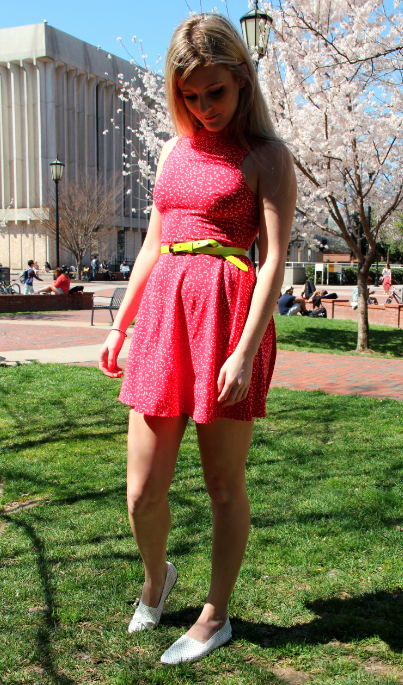 Olivia Turpin, Undecided, wearing a dress from Urban Outfitters, belt from Nasty Gal, and shoes by Steve Madden.