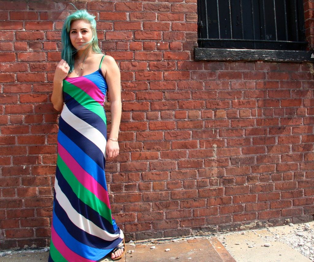 Colleen Parker, Social Work and Gender, Sexuality & Women's Studies major, wearing her sister's dress and Ion hair dye.