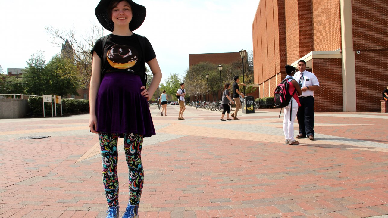 Kate Johannesen, in Art Foundations, wearing Jeffrey Campbell platform sneakers, a thrifted skirt and gifted leggings.