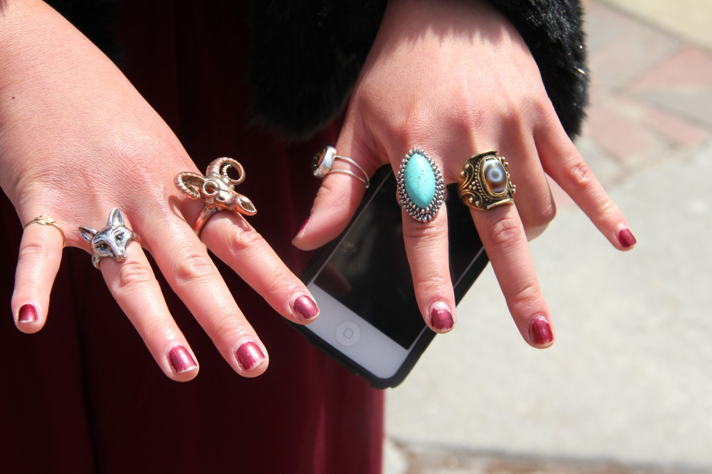 Lisa Park, Sculpture major, wearing a jacket from eBay, sheer pants from Gabriel Brothers, and rings from all over.