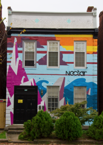A piece by Broth featured on the wall of Nectar in Richmond