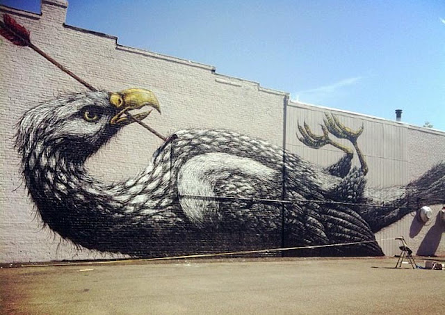 A famous piece by Roa in Richmond's street art collection