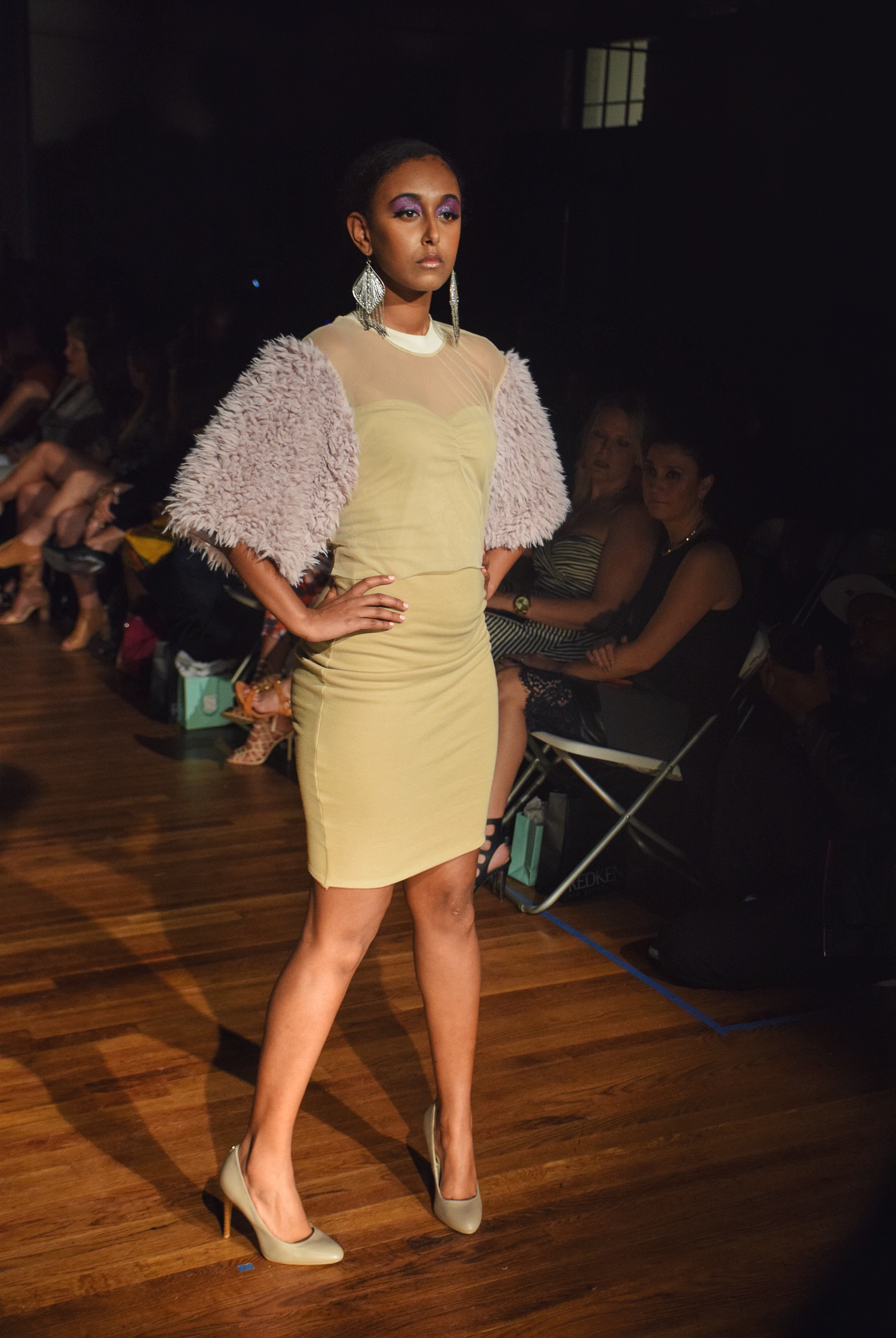 LaPosh by India Watson played with sheer and teddy fur accents on formal wear adding a playful edge.