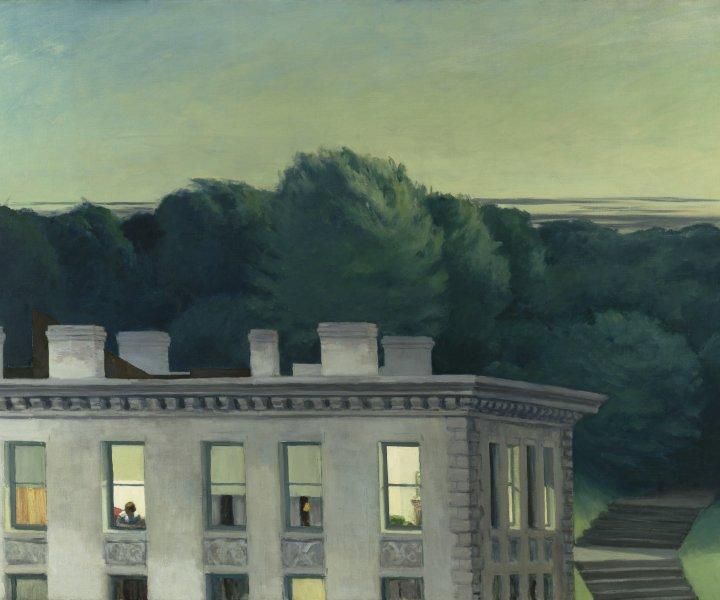 """Edward Hopper House at Dusk, 1935 Oil on canvas 36 ¼ x 50 in. (92.1 x 127 cm) Virginia Museum of Fine Arts, Richmond John Barton Payne Fund, 53.8 photo: Katherine Wetzel  © Virginia Museum of Fine Arts © 2019 Heirs of Joesephine Hopper / Licensed by Artists Rights Society (ARS), NY"""